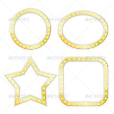 Golden Frames #GraphicRiver golden frames of star, circle, ellipse, square. vector set. eps10 Created: 4September13 GraphicsFilesIncluded: JPGImage #VectorEPS Layered: No MinimumAdobeCSVersion: CS Tags: advertise #advertisement #blank #bulb #casino #celebration #circle #element #ellipse #frame #glow #gold #graphic #illuminated #illustration #lamp #layout #light #medallion #movie #night #oval #rounded #set #sign #square #star #symbol #template #vector