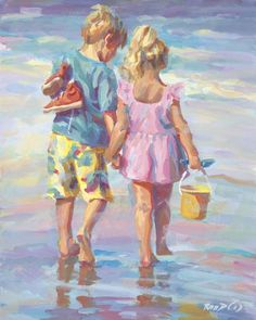 HARMONY Canvas giclee, impressionism, Boy and girl walking on the beach signed by artist Lucelle Raad - Fine art - Art Plage, Painting People, Beach Art, Girl Beach, Beach Canvas, Nursery Art, Love Art, Impressionism, Painting Inspiration