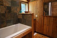 Bathroom with soaker bath to unwind. Gold Cup, Old Things, Bathtub, Cabin, Bathroom, Standing Bath, Washroom, Bathtubs, Bath Tube
