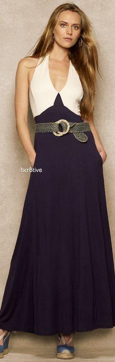 Ralph Lauren Blue Label Silk Jersey Halter Dress