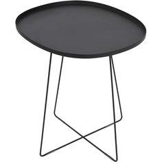 Metallbord, ovalt trädgårdsbord 49x42 cm, svart, 3002516