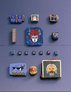 An Assemblage of Romano-Egyptian Mosaic Glass Inlays, century. Roman Jewelry, Jewelry Art, Mosaic Glass, Glass Art, History Of Glass, 1st Century, Turquoise Glass, Historical Art, Ancient Artifacts