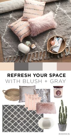 If you thought you couldn't decorate your apartment or living room with pink, think again! Blush is the perfect shade to take your decor from girly to chic, especially when combined with a gray color scheme. Featured product includes: nearly natural decorative cactus garden cement planter; WoodWick vanilla gourmand 17.2-oz. jar candle; Decor 140 verim textured vase; Safavieh Dallas lattice shag rug and 2-piece Jenna throw pillow set; Thro by Marlo Lorenz Keller faux fur oblong throw pillow.