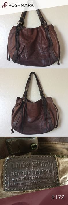 Lucky Brand Boho TLC needed Fantastic Brass, suede, patchwork, as well as embossed leather finishes. A really big size! Needs TLC. Priced to reflect that!  14 inches across, 4 inches base and total height is 21 inches Lucky Brand Bags Hobos