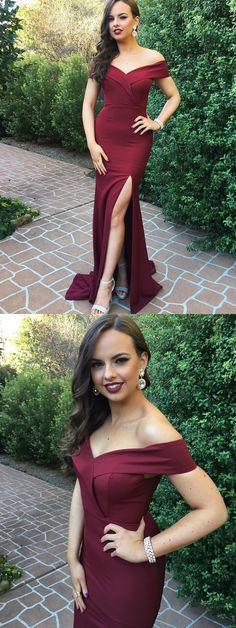 Sexy Mermaid Off-The-Shoulder Split Front Burgundy Long Prom Dress+#promdresses #longpromdresses #2018promdresses #burgundypromdresses