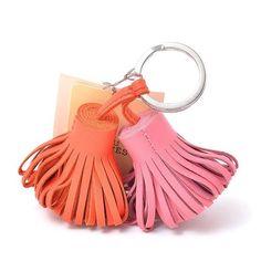 HERMES Auth Carmen Uno Dos Bag Charm Rose Azalee Orange Poppy NOS Mint #0748 #HERMES