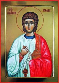 Stephen the Protomartyr by Aleksandra Graovac of Serbia Chi Rho, Saint Stephen, Orthodox Christianity, Day Book, Orthodox Icons, Virgin Mary, Ikon, The One, Saints