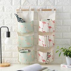 Cheap Storage Bags, Buy Directly from China Suppliers:Flamingo Pattern Cotton Linen Hanging Storage Bag 3 Pockets Wall Mounted Wardrobe Hang Bag Wall Pouch Cosmetic Toys Organizer Flamingo Pattern, Flamingo Print, Door Organizer, Hanging Organizer, Organizers, Diy Organisation, Closet Organization, Toy Containers, Wall Hanging Storage