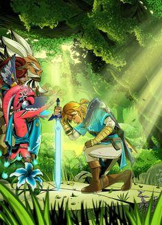 Legend of Zelda Breath of the Wild art > Link, The Master Sword, and the Champions The Legend Of Zelda, Legend Of Zelda Tattoos, Legend Of Zelda Breath, Image Zelda, Botw Zelda, Link Art, Hyrule Warriors, Skyward Sword, Link Zelda