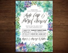 "Print at Home Watercolor Succulent Wedding Invitation (5""x7"") Green, Purple, and Blue with Rustic Calligraphy"