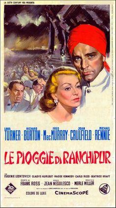 THE RAINS OF RANCHIPUR (1955) - Lana Turner - Richard Burton - Fred MacMurray - Joan Caulfield - Michael Rennie - Directed by Jean Negulesco - 20th Century-Fox - French Movie Poster.