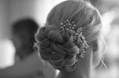 Low, Knotted Bun + Pearl-Embellished Hair Pin |  Photography: Dalal Photography. Read More: http://www.insideweddings.com/weddings/a-romantic-neutral-hued-wedding-in-los-angeles-california/593/