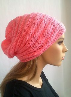 a8c81e446d6 Handmade Slouchy Knit Hat Hand Knitted Pink Hipster Beanie Ooak Slouchy Cap  Winter Chunky Hippie Hat