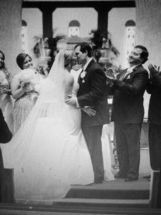 Catholic wedding church photo kissing