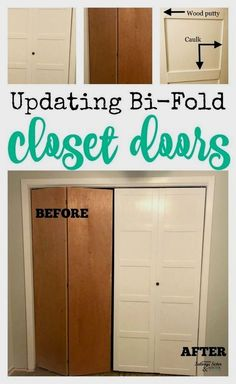 DIY Updating Bi-Fold Closet Doors Have old closet doors you need to replace? Not so fast. How about updating those bi-fold closet doors for a new look? Home Upgrades, Home Improvement Projects, Home Projects, Home Improvements, Porte Diy, Closet Door Makeover, Diy Interior Door Makeover, Cupboard Doors Makeover, Diy Cabinet Doors