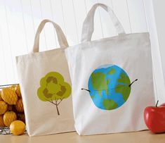 Here is a great project anyone can create that will not only promote Earth Day, but also give your basic tote a new look. Keep the Earth happy by proudly toting this recycled tote. Fabric Decor, Fabric Crafts, Diy Craft Projects, Craft Ideas, Kids Crafts, Decorating Ideas, Decor Ideas, Earth Day Crafts, Camping Crafts