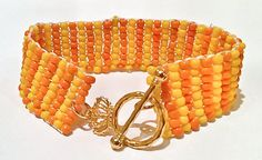 Citrus Beadwork Bracelet  Orange and Yellow Seed Bead by DuMoments