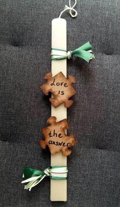 """Χειροποίητη λαμπάδα """"Παζλ"""" (handmade easter candle """"Puzzle"""") , made by Lemon Garden Creations"""