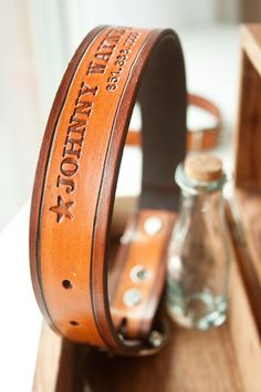 Custom Leather Dog Collar LARGE TWOTONE stain with by MesaDreams. $40.00, via Etsy.