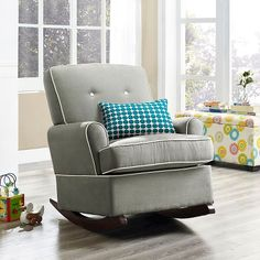Dorel Tinsley Upholstered Glider : Target. Gray with a turquoise/blue accent pillow.