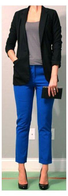 Fashion Moda, Work Fashion, Fashion Pants, Blue Pants Outfit, Black Pants, Grey Trousers, Grey Outfit, Cropped Pants, Harem Pants