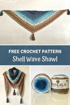 Simple Crochet Shawl for beginners - Shell Wave Shawl by Wilmade - - Learn how to make a simple crochet shawl for beginners with my free pattern. This shawl is made with Lion Brand Mandala Baby and features beautiful waves. Crochet Game, Crochet Shawl Free, Crochet Shawls And Wraps, Crochet Mandala, Crochet Scarves, Easy Crochet, Crochet Stitches, Dishcloth Crochet, Crochet Vests