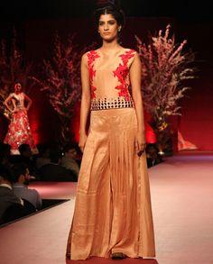 Manish Malhotra, Sharara, Lace Skirt, Peach, Silk, Formal Dresses, Skirts, Ethnic, Pants