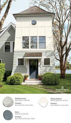 Off White House Exterior Paint Exterior Paint Color Combinations, House Exterior Color Schemes, House Paint Color Combination, Exterior Paint Colors For House, Paint Colors For Home, Exterior Colors, Exterior Design, Exterior Color Palette, Diy Exterior
