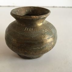 1850's Antique Old Brass Hand Carved Beautiful Round Holy Water Pot
