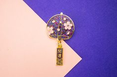 Summer Sounds // NIGHT // Japanese Wind Chime Hard Enamel Lapel Pin with Charm by ForestandInk on Etsy