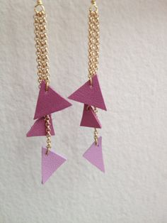 Mini Triangle Leather Earrings in Wild Orchid and by ShopLiliia, $20.00