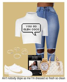 """You Go Glen Coco !"" by royal-t-1 ❤ liked on Polyvore featuring NIKE, Glamorous, MICHAEL Michael Kors, Versace, Lipsy, cute, nike and whiteshirt"