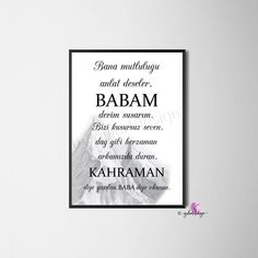I am pleased to present this article from my shop to present: Baba, gift idea, picture frame, Islamic Decor, Islamic Wall Art, Islamic Quotes, Ramadan, Presents For Her, Business Gifts, Best Dad, Art Pictures, Picture Frames