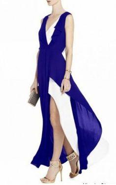 2014 Yuliana Royal V-Neck BCBG Long Prom Dress