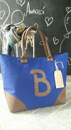 """Bolsa em tecido e couro sintético """"B"""""""