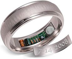 For the forgetful groom... this ring warms up 24 hours before your anniversary. Ok. That's cool. Haha!!