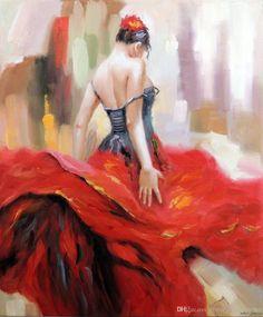 Artisanat Peinture À L'huile Portrait Vente De Danseur De Flamenco Espagnol Gypsy Hot Sur Toile 24x36inch Pas De