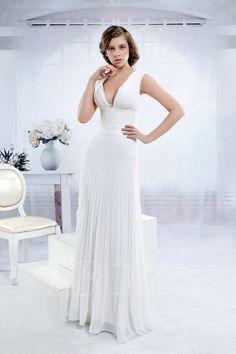 TBDress - TBDress Empire Floor-length V-neck Anitas Wedding Dress - AdoreWe.com