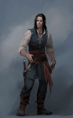 m Half Elf Rogue Thief Leather Armor Dual Swords Mountain road fog clouds by Victoria Sokolova ArtStation lg Male Character, Fantasy Character Design, Character Portraits, Character Design Inspiration, Character Concept, Rogue Character, Concept Art, Elf Characters, Dungeons And Dragons Characters
