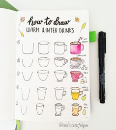Learn how to draw Bullet Journal Doodles with these step-by-step instructions. My favorite fall doodles - warm winter drinks, pumpkins, Halloween items. to drawing bullet journal How to Draw Fall Bullet Journal Doodles? Bullet Journal Banner, Bullet Journal Notes, Bullet Journal Ideas Pages, Bullet Journal Inspiration, Doodle Art For Beginners, Simple Doodles, Doodles How To, How To Draw Doodle, Happy Doodles