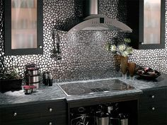 Modern Stainless Steel Pebble Tile Kitchen by DecorativePebbles, via Flickr