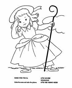 Little Bo Peep Coloring Page | Nursery Rhymes Preschool Theme ...