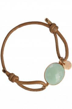IRIS Armband Chalzedon Leder Iris, Mint, Jewellery, Bracelets, Gold, Schmuck, Rhinestones, Brown, Wristlets