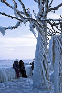 Ice storm at Lake Geneva, Switzerland