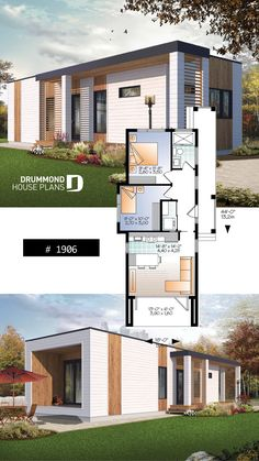 tiny house plan, 2 to 3 bedrooms, 9 ceiling, ideal for vegetable garden rooftop Modern Tiny House, Tiny House Design, Small House Plans, Modern House Design, House Floor Plans, Ideal House, Town Country Haus, Drummond House Plans, Bedroom House Plans
