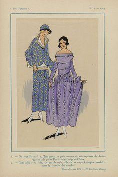 Anonymous | Très Parisien, 1923, No. 4: 1. - SUIS-JE BELLE? 1. Très jeune,..., Anonymous, Réal, G-P. Joumard, 1923 | 1. Een kostuum (mantelpak? ) van zijde bedrukt met  egyptische motieven. De blouse is van crêpe de Chine. 2. Jurk, 'un peu de style', van gebrocheerde crêpe Georgette, met bijzondere mouwen. Prent uit het modetijdschrift Très Parisien (1920-1936).