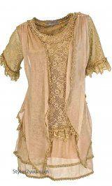 AP Emma Vintage Victorian Blouse In Brown