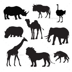 Buy Wild African Animals Black by macrovector on GraphicRiver. Wild african animals black silhouettes set with buffalo hippopotamus giraffe isolated vector illustration. Rare Animals, Safari Animals, Funny Animals, Animal Silhouette, Silhouette Art, Afrika Tattoos, African Tree, Afrique Art, Animal Templates