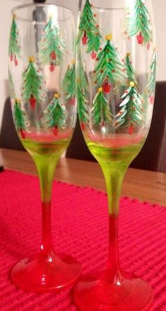 Christmas tree champagne flutes hand painted wine glasses