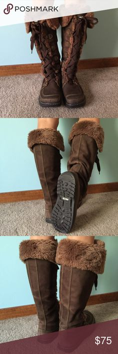 Earth Summit Lace-Up Boots These knee high, lace-up, fur boots are perfect for enduring the elements and keeping your feet cozy, warm, and stylish. Made of real leather and suede, these boots are durable and built to last. These boots run small and were never worn! Earth Shoes Winter & Rain Boots